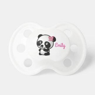 Panda mit einem rosa Bogen-Schnuller Schnuller