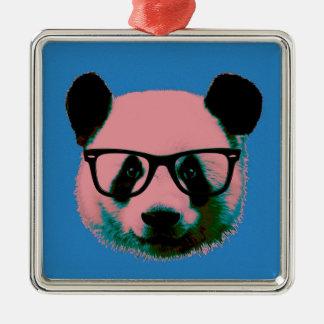 Panda mit Gläsern im Blau Silbernes Ornament