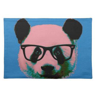 Panda mit Gläsern im Blau Tischset