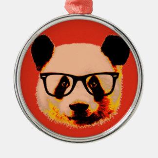 Panda mit Gläsern im Rot Silbernes Ornament