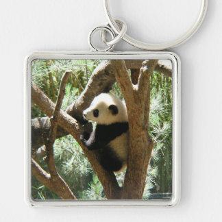 Panda-monium Silberfarbener Quadratischer Schlüsselanhänger