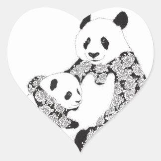 Panda-Mutter u. Baby CUB Herz-Aufkleber