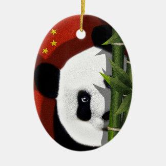 Panda Ovales Keramik Ornament