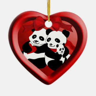 Panda-Paare und Baby-Weihnachtsherz-Verzierung Keramik Ornament
