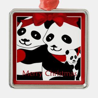 Panda-Paare und Baby-Weihnachtsprämien-Verzierung Quadratisches Silberfarbenes Ornament