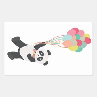 Panda-Party - Panda mit Ballon-Aufkleber Rechteckiger Aufkleber