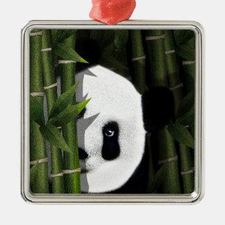 Panda Quadratisches Silberfarbenes Ornament