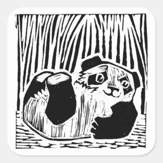 Panda-Spiel-Quadrat-Aufkleber, glatt Quadratischer Aufkleber