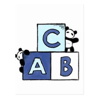 Panda-Spielzeug-Welt - blaue ABC-Blöcke Postkarte