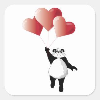 Panda-und Ballon-Aufkleber Quadratischer Aufkleber