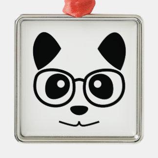 Panda und Gläser Quadratisches Silberfarbenes Ornament