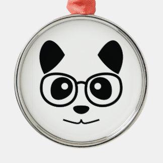 Panda und Gläser Rundes Silberfarbenes Ornament