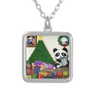 Panda Weihnachten Versilberte Kette