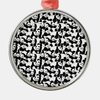 Pandamuster Silbernes Ornament