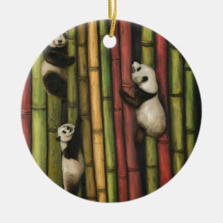 Pandas, die Bambus klettern Keramik Ornament