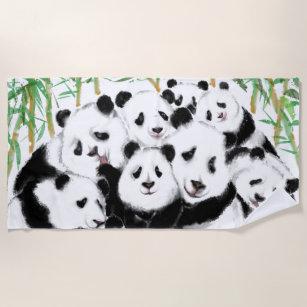 Pandas - Pandemie - Große Umarmung - Zeichnend Sa Strandtuch