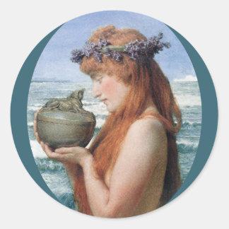 Pandora durch Alma Tadema, Vintager Romanticism Runder Aufkleber