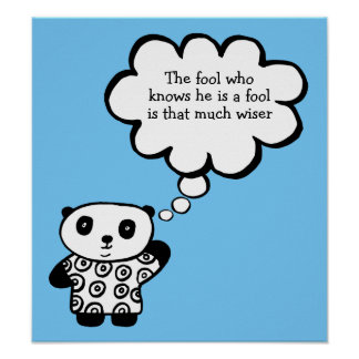 Pandy das Panda-buddhistische Dummkopf-Zitat Poster