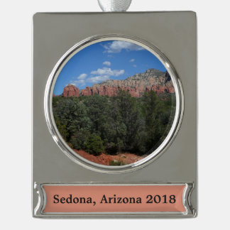 Panorama der roten Felsen in Sedona Arizona Banner-Ornament Silber
