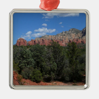 Panorama der roten Felsen in Sedona Arizona Quadratisches Silberfarbenes Ornament