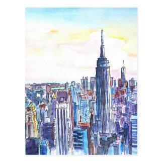 Panorama von Manhattan-Skylinen im Aquarell Postkarten