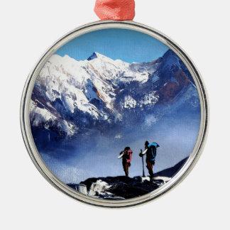 Panoramablick Ama Dablam HöchstEverest Berges Silbernes Ornament
