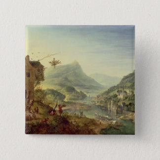 Panoramablick auf dem Rhein (Paare mit 59649) Quadratischer Button 5,1 Cm