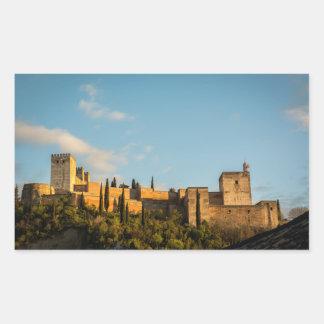 Panoramablick der Festung des Alhambras Rechteckiger Aufkleber