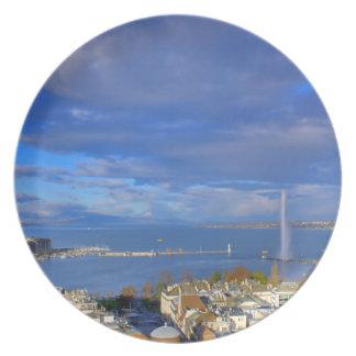Panoramablick des Genfs Wasserstrahl Melaminteller