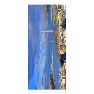 Panoramablick des Genfs Wasserstrahl Werbekarte