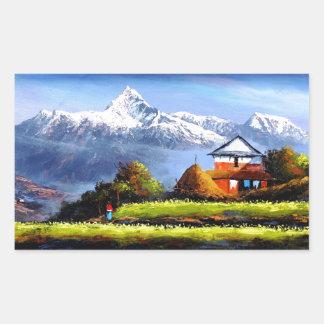 Panoramablick schönen Everest-Berges Rechteckiger Aufkleber