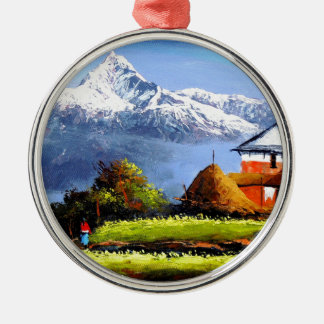 Panoramablick schönen Everest-Berges Silbernes Ornament