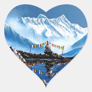 Panoramablick von Annapurna Berg Nepal Herz-Aufkleber