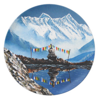 Panoramablick von Annapurna Berg Nepal Melaminteller