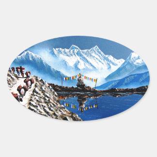 Panoramablick von Annapurna Berg Nepal Ovaler Aufkleber