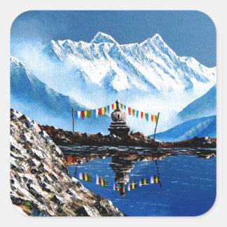 Panoramablick von Annapurna Berg Nepal Quadratischer Aufkleber