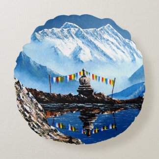 Panoramablick von Annapurna Berg Nepal Rundes Kissen