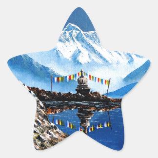 Panoramablick von Annapurna Berg Nepal Stern-Aufkleber