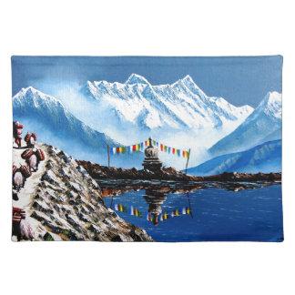 Panoramablick von Annapurna Berg Nepal Stofftischset