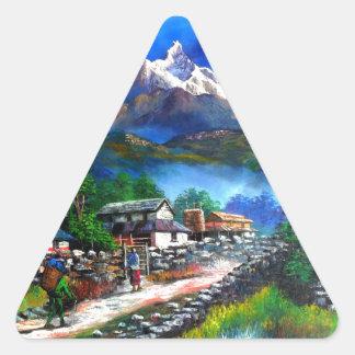 Panoramablick von Everest-Berg Nepal Dreieckiger Aufkleber