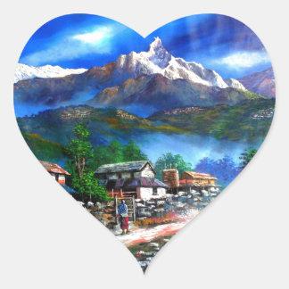Panoramablick von Everest-Berg Nepal Herz-Aufkleber
