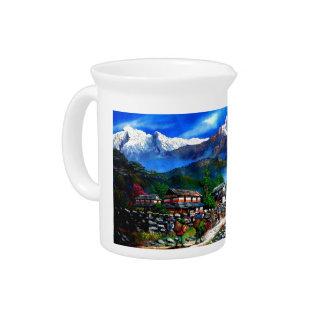 Panoramablick von Everest-Berg Nepal Krug
