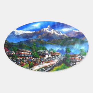 Panoramablick von Everest-Berg Nepal Ovaler Aufkleber
