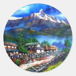 Panoramablick von Everest-Berg Nepal Runder Aufkleber