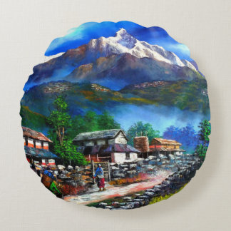 Panoramablick von Everest-Berg Nepal Rundes Kissen