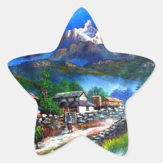 Panoramablick von Everest-Berg Nepal Stern-Aufkleber