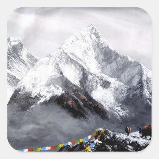 Panoramablick von Everest-Berg Quadratischer Aufkleber