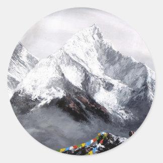 Panoramablick von Everest-Berg Runder Aufkleber
