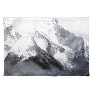 Panoramablick von Everest-Berg Stofftischset