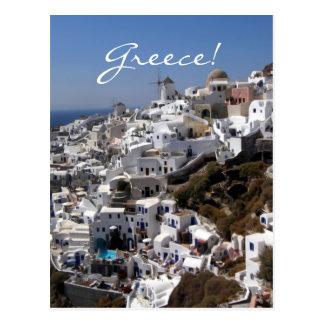 Panoramablick von Oia, Griechenland Postkarte